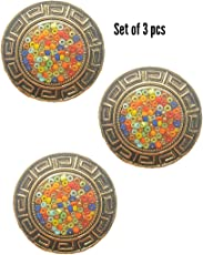 Paushak Boutique Multicolour Glass Beads Button for Indian Dresses for Kurties,Gowns and Party Wears Dresses (Set of 3)
