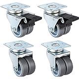 FIXKIT 4 PCS Double Roulettes Transports 50 mm,2 PCS Roulettes Pivotantes, 2 PCS Roulettes Pivotantes avec Frein, Capacité de