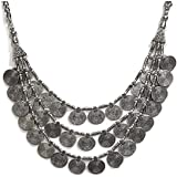Saissa Metal Silver Plated Multilayered Coins Necklace for Girls and Women