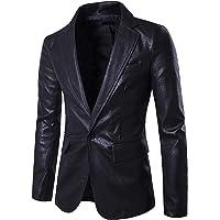 Elonglin Men's Faux Leather Blazer Slim Fit One Button Casual Business Suit Jacket Classic Solid Notched Lapel Jacket…