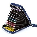 Credit Card Holders Women Ladies Leather Credit Card Wallets for Women Credit Card Holder Women RFID Protector (Blue)