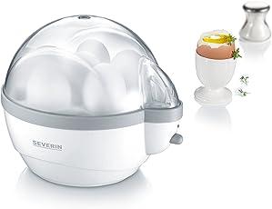 SEVERIN Eierkocher, Inkl. Wasser-Messbecher mit Eierstecher, 6 Eier, Signalton, EK 3051, Weiß/Grau