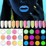 Kalolary 12 Dozen neon kleur nagel poeder pigment Lichtgevend nagel poeder, kleurrijke fluorescerende poeder acryl nail art g