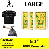 G 1 ® Large Garbage Bags of 25 X 30 Inches | 42 Bags - Pack of 3 * 14 Bags |Disposable Dustbin Bags for Home Kitchen | Pantry Dustbin Covers