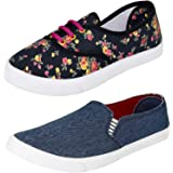 Axter Women's Multi-Coloured Canvas Casual Shoes/Sneakes/Moccasins - Pack of 2 (Combo-(2)-611-619)