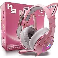 Cuffie da Gioco per PC/PS4/PS5/Xbox One,Cuffie per Gioco con Orecchie di Gatto Staccabili Rosa,Cuffie Gaming con Audio…