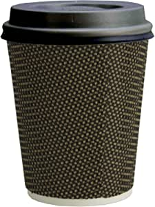 Signature Ripple Hot Cups Disposable Coffee Cups with Lids for Takeaway Drinks 25 Cups and 25 Lids Triple Wall Insulated Paper Cups for Hot