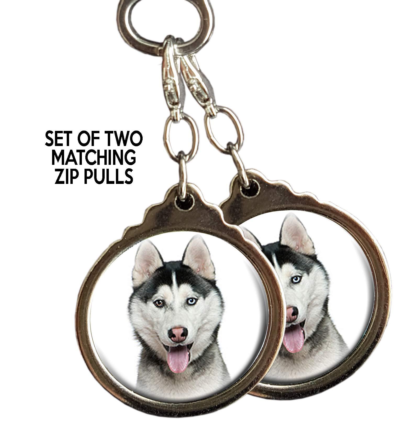 Black Grey Siberian Husky Dog Zip PULLS. Set of Two Matching Zip pulls or Bag Tags. Puppy Dog Pet Gift.