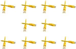 10-Pack 1 Foot Cat5e Snagless//Molded Boot Yellow Ethernet Patch Cable CNE52578