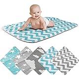 Bäddningsmatta för barn Bäddningsfilt för bebisar och småbarn; andningsbar, tvättbar, återanvändbar; 50 x 70 cm (ZigZag Blå)