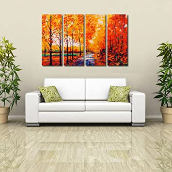 Charming 999Store Multiple Frames Wall For Living Room Wall Art Panels With Frame  Printed Abstract Trees Painting Framed: Amazon.in: Home U0026 Kitchen Part 24