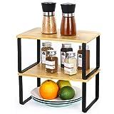LIANTRAL Étagère en bambou dans une armoire de cuisine - Organiseur extensible empilable dans un placard - Solution de rangem