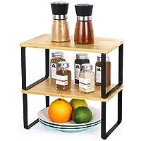 LIANTRAL Étagère en bambou dans une armoire de cuisine - Organiseur extensible empilable dans un placard - Solution de…