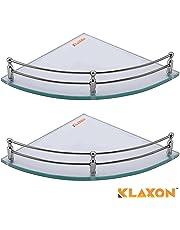 Klaxon Glass Corner Shelf Set - 9 inch (Glossy, Pack of 2)