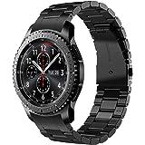 V-MORO Gear S3 Frontier/Gear S3 Classic Watch Armband, Galaxy Watch 46mm Armband,22mm (Metall schwarz) Solider Edelstahl Metall Ersatz Bracelet Strap Band Uhrenarmband für Samsung Gear S3
