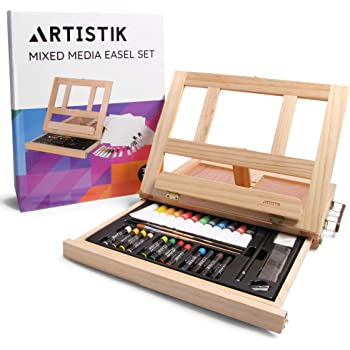 Mixed Media Art Set - Complete Easel Painting Kit with Wood Desk Top Easel  Box Includes Acrylic Paints, 3 Canvas Boards, Oil Pastels, Desktop Art