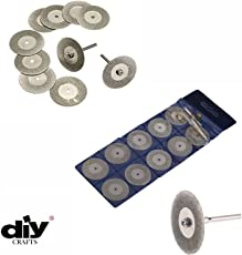 Toolscentre 10Pcs 22mm Mini Diamond Saw Blade Silver Cutting Discs With 2Pcs Connecting Shank For Dremel Drill Bit Rotary Tool.
