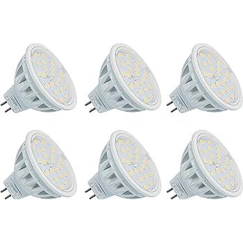 MR16 LED GU5.3 Bombillas Equivalente 60W Halógena Blanco Natural 4000K AC/DC12V 600LM 6 Piezas.(Segunda generacion)