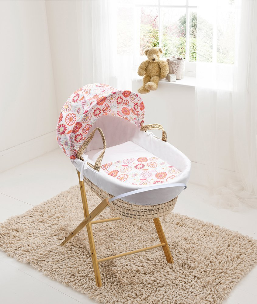 Funky Flowers Palm Moses Basket & Folding Stand Elegant Baby Suitable from newborn for up to 9kg, this Moses Basket uses Easy-care Poly Cotton with a soft padding surround Suitable from newborn to 9 months It also includes a comfortable mattress and an adjustable hood perfect to create a cosy sleeping space for your precious little one 1