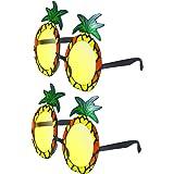 URATOT 2 Pairs Pineapple Sunglasses Hawaiian Fancy Dress Pineapple Shape Novelty Sunglasses for Hawaiian Beach Party (Style 1