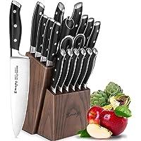 Emojoy Bloc de Couteaux, 18 Pièces Set Couteaux de Cuisine, Lot de Couteaux, Couteaux de Chef de Bloc en Bois,Allemagne…