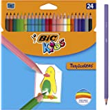 BIC Kids Tropicolors Lápices de Colores (2,9mm) - Colores Surtidos, Blíster de 24 Unidades, para actividades creativas en cas