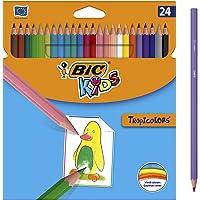 BIC Kids Ecriture Tropicolors Crayons de Couleur - Couleurs Assorties, Fabriqués Sans Bois - Etui Carton de 24