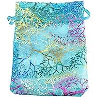 SumDirect 100 Pezzi 9 cm x 12 cm, in organza trasparente con cordoncino, per gioielli, matrimoni, feste, Natale e regali…