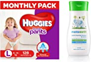 Huggies Wonder Pants Large Size Diapers Monthly Pack (128 Count) & Mamaearth Gentle Cleansing Shampoo for babies (200 ml, 0-5