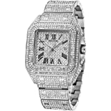 Iced Out Watches for Men Hip Hop Bling-ed Out Huge Square Dial Watch with Simulated Diamond Crystals