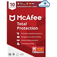 McAfee Total Protection 2021, 10 Dispositivi, 1 Anno, Software Antivirus, Sicurezza Internet, Mobile, Gestore Password…