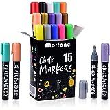 Morfone Rotuladores de Tiza líquida, rotuladores Pizarra Blanca,Juego de 15 marcadores de Tiza Colores con Pinzas + Trapo+ 32