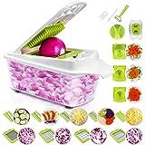 Sedhoom 23 Piezas Cortador de Verdura Mandolina de Verduras Multifuncional Mandolina de Cocina Slicer Espiral Rallador de Cuc