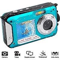 Appareil Photo Etanche Caméscope Vidéo sous-Marine 1080P FHD 24 MP Caméscope Etanche Double écran Caméra Numérique Selfie Action