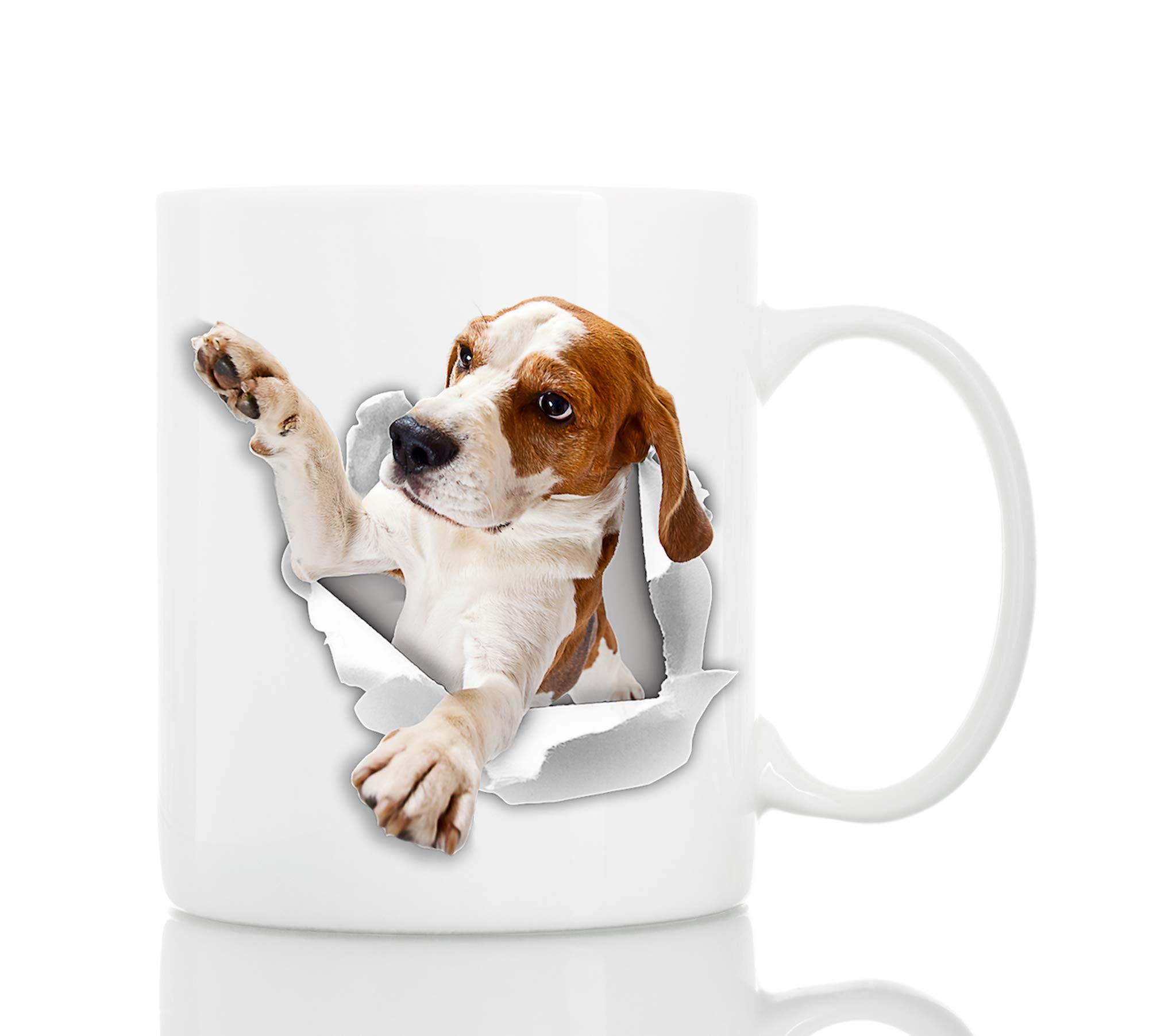 Funny Beagle Dog Mug | Ceramic 11oz Funny Coffee Mug | Perfect Dog Lover Gift | Cute Novelty Coffee Mug Present | Great Birthday or Christmas Surprise for Friend or Coworker, Men and Women