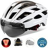 Shinmax Casco Bici con Luce di LED,Certificato CE, Casco con Visiera Magnetica Staccabile Shield Casco da Bici Leggero Casco