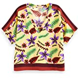 Scotch & Soda Printed V-Neck Top with Color Block Details Camicia Donna