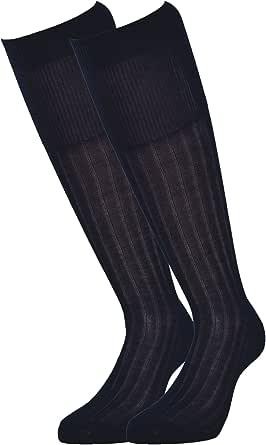 Fontana Calze, 6 paia di calze uomo lunghe in 100% Cotone Filo di Scozia velato e a costine.