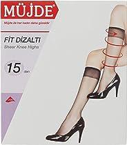 Müjde Kadın Fit Dizaltı Çorap, 15 Denye 12'li Paket