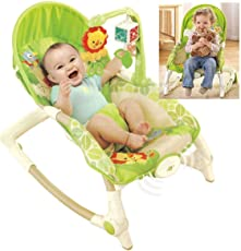 PEony Adjustable Newborn to Toddler Rocker Chair Bouncer with Calming Vibration Mode (Green)