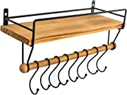 SODUKU Floating Shelf Wall Shelf for Storage Rustic Wood Kitchen Spice Rack and Bathroom Shelf with Rail and Removable Towel