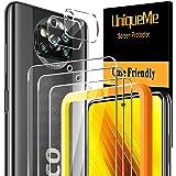 [3-pack] UniqueMe härdat glas och [2-pack] kameralinsskydd kompatibel med Xiaomi Poco X3 NFC/Poco X3 Pro [Inga bubblor] [Berö