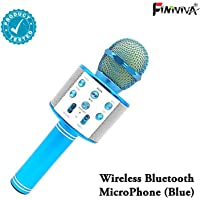 FINIVIVA Rechargeable Handheld Wireless Microphone Mic With USB Charging cable | Multi-function Bluetooth Karaoke Singing Mic | wireless microphone with bluetooth speaker For All IOS/Android Smartphones With Multi Voice Remix | WS-858 Rechargeable Wireless Karaoke Bluetooth Microphone With Inbuilt Speaker with Audio recording (1 Pc, Assorted Colours)