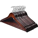 HOUSE DAY Premium Wood Suit Hangers 20 Pack Wooden Suit Hangers Wooden Clothes Hanger Brown Premium Wooden Hangers for Clothe