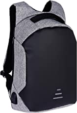 Fur Jaden Grey Anti Theft Casual Backpack with USB Charging Point and Music AUX Extension