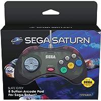 Retro-Bit Official SEGA Saturn Control Pad for Sega Saturn - Original Port - Slate Grey