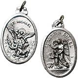 Medaglietta San Michele Arcangelo e Angelo custode placcata argento - 10 pezzi