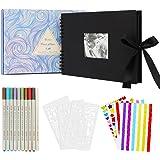 Enibon Album Photo Scrapbooking DIY, Album Photo Vierge 80 Pages Noir, Livre Photo Bricolage Autocollant pour Bébé Enfant, Al
