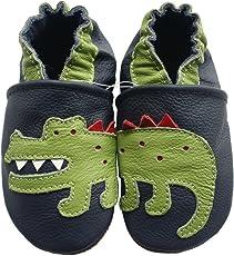 Carozoo Crocodile Dark Blue Baby Boy Soft Sole Leather Shoes