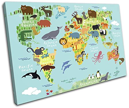 Bold bloc design animal kids nursery world maps flags 90x60cm bold bloc design animal kids nursery world maps flags 90x60cm single canvas art print box framed picture wall hanging hand made in the uk framed and gumiabroncs Gallery
